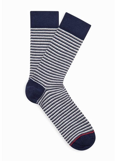 Mavi  Çizgili Soket Çorap Lacivert